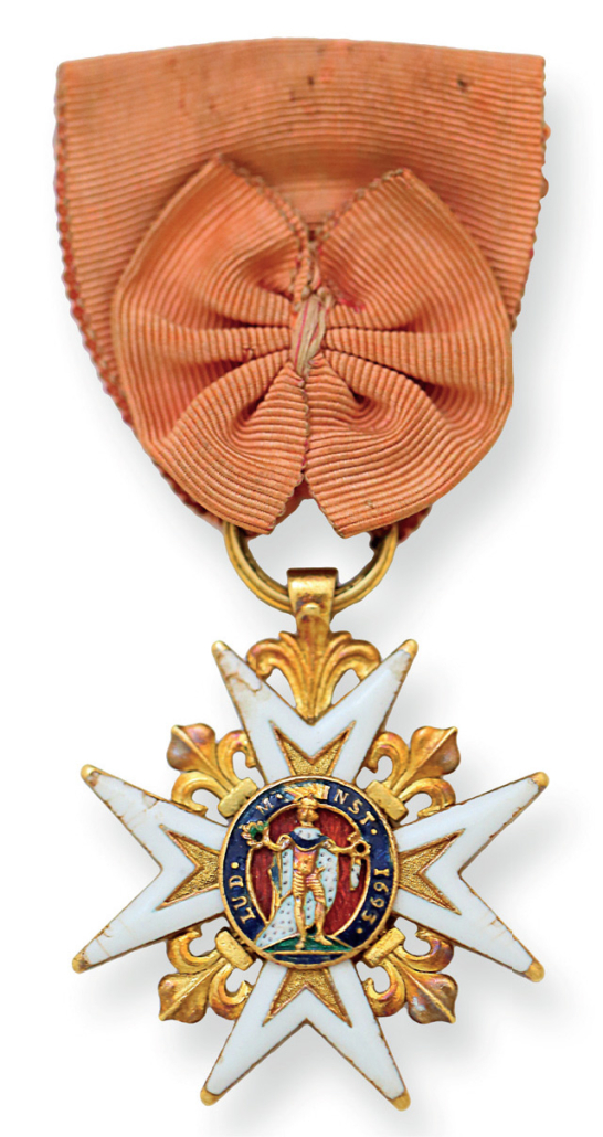 A Knight's Cross of the Order of Saint Louis of France. This type of ribbon bow, which was originally an emblem indicating that the knight is receiving the pension of the Order, later became the round rosette used in many orders to indicate an officer class or Knight First Class.