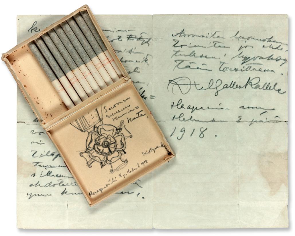 """""""Suomen Ruusun Kunniakunta"""". En i locket av en cigarrettask uförd skiss av Gallen-Kallela jämte ett följebrev daterad 2 februari 1918. Foto Per Johan Lundsten."""