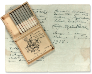 'Honorific Order of the Rose of Finland'. Gallen-Kallela's sketch on the lid of a cigarette box, dated 2 February 1918, and accompanying notes. Photograph: Per Johan Lundsten.